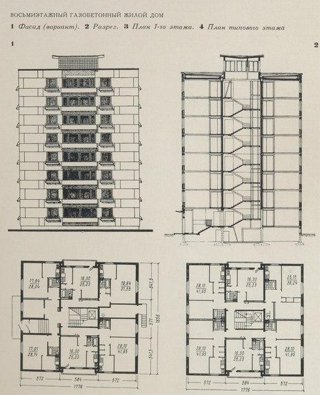 Схема фасада, дома в разрезе